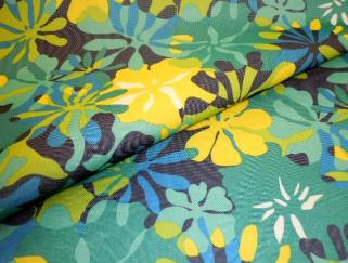 Closeup folded image of Marine and Outdoor Canvas Tropical Floral, in blues, yellow and white