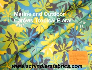 Pattern Padre Tropical Floral Navy outdoor and marine canvas color blues, yellow and white flowers