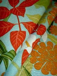 Washed Linen Blend Tropical Floral Decorator Fabric, Rowlily Palm Beach