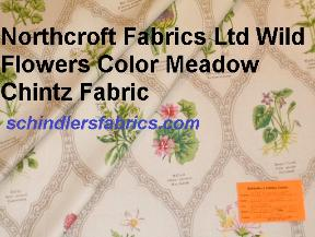Northcroft Fabrics Ltd Wild Flowers Color Meadow Chintz Fabric taxonomy chart printed in the UK for Bailey & Griffin Fabrics