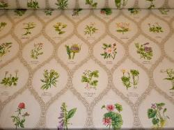 Chintz pattern Wild Flowers Color Meadow, from Northcroft Fabrics Ltd printed in the UK, Wild flower taxonomy chart, on cutting table