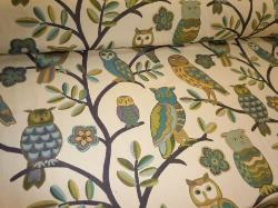 Pattern Wiseguy Color Spring Upholstery Owls and Trees Design Fabric, very heavy textured woven jacquard design
