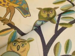Closeup of Owls and Trees Design Fabric Wiseguy Spring Upholstery Fabric